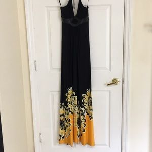 Sky dress maxi in black and gold flowers leather